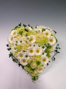 Fyllt hjärta vit lime