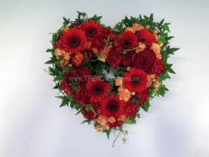 Öppet hjärta mossa rött orange