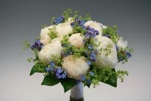 vitblå brudbukett