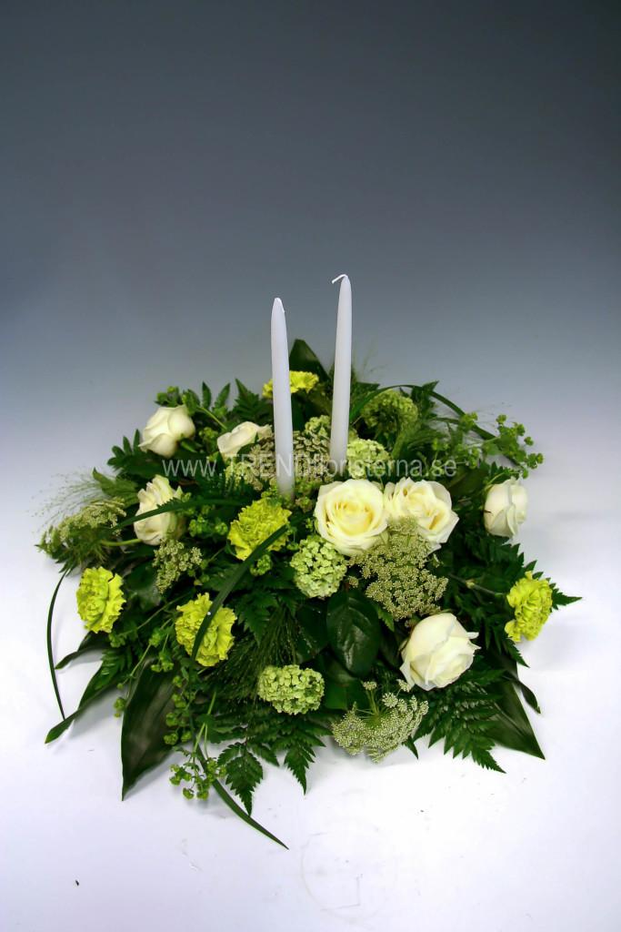 Lime vit låg rund dekoration med ljus