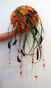 orange svart brudbukett