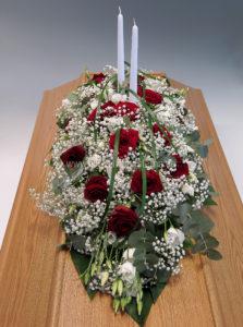 klassisk modell röd vit med ljus
