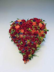 Fyllt hjärta röd orange lila lime
