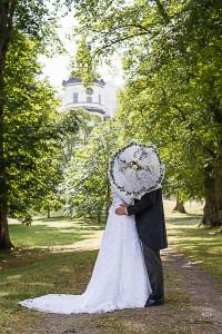 Brudpar och Paraply ljusrosa