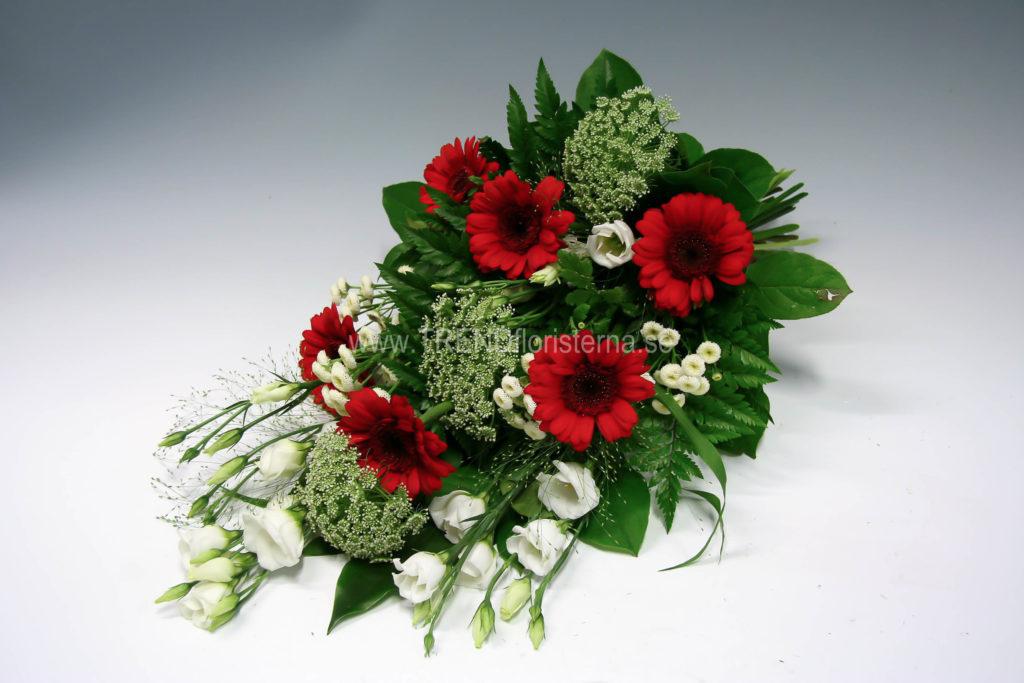 Begravningsbukett röd vit